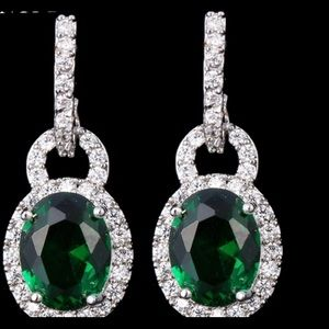 Swanky Emerald Crystal Padlock Earrings